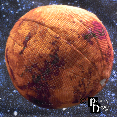 Mars Globe 3D Cross Stitch Sewing Pattern PDF